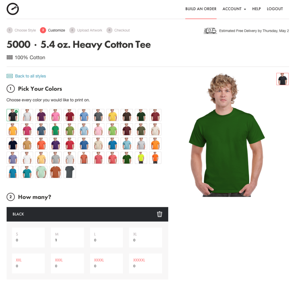 Pick Colors, Sizes and Quantities