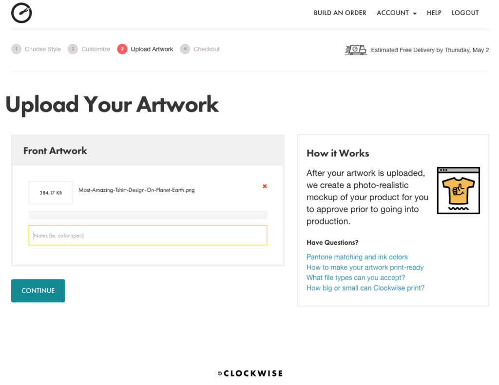 Upload Your Artwork and Add Notes